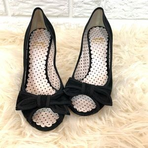 Moschino Black peep toe bow heels size 39